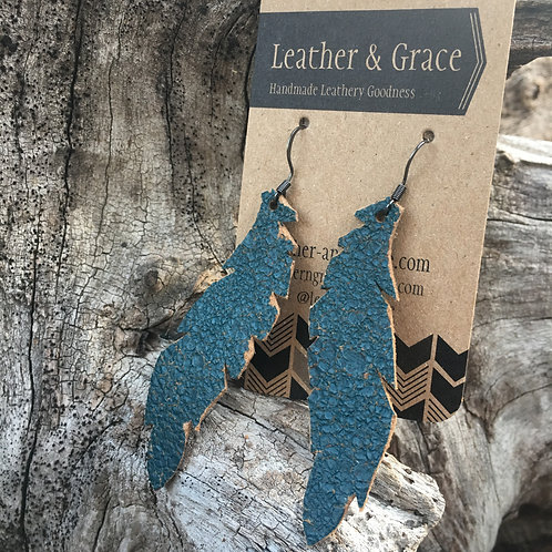 Teal Crackle Feathers