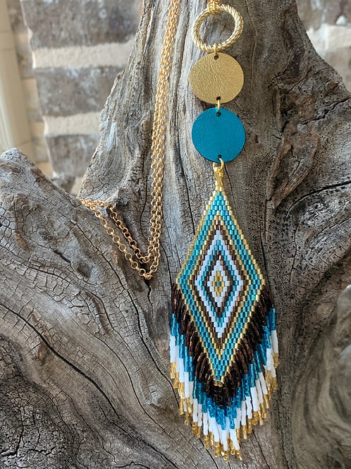 Teal & Gold Aztec Beads
