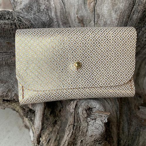 Gold Patterned Tri-Fold Wallet