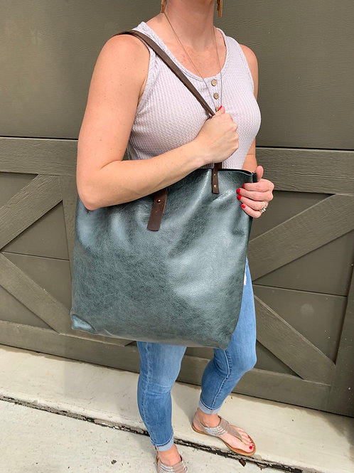 Giant Tote in Two-Toned Emerald Green Suede