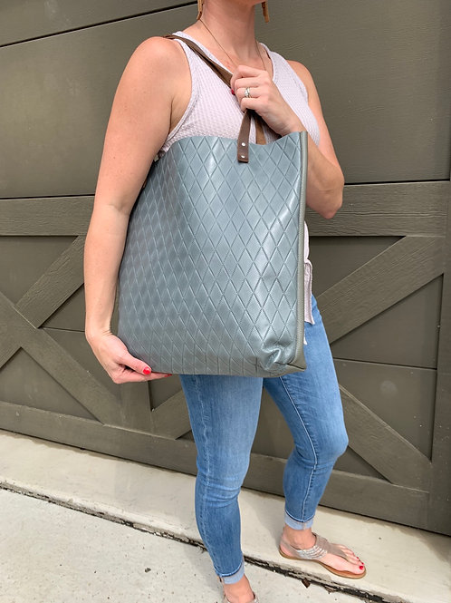 Giant Tote in Dusty Blue Quilt