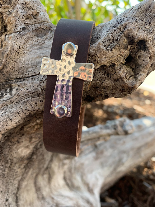 Silver Cross Brown Band