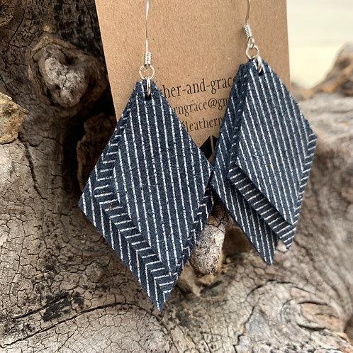 Navy Pinstripe Triple Diamonds