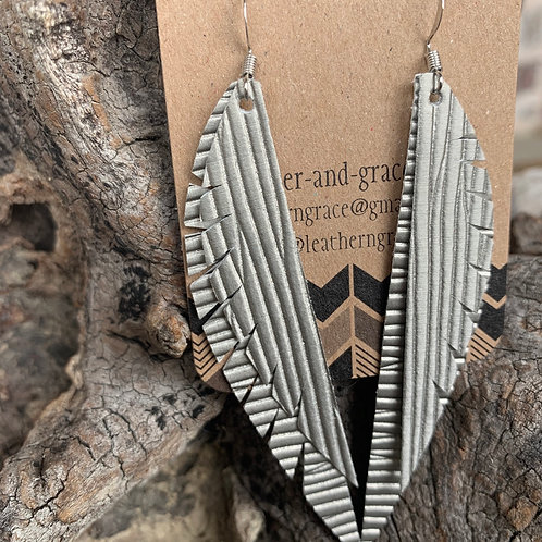 Silver Textured Double Angel Wings