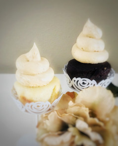 Vanilla & Fudge Cupcakes with Peanut Butter Frosting