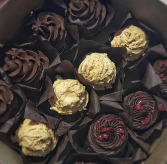 Vegan Assortment of Chocolate Fudge, Chocolate Peanut Butter, & Raspberry Fudge Cupcakes
