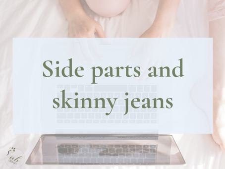Side parts, skinny jeans and logos