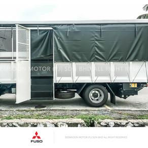 Mitsubishi Fuso FE85PE FE85PG Lori Steel Cargo,aluminium top & tail lift.