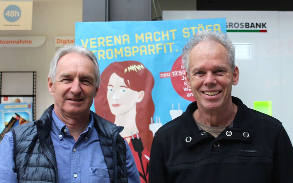 Unterstützen das Stromsparvreneli: Jürg Kurtz und Alfred Sigg von der LA21
