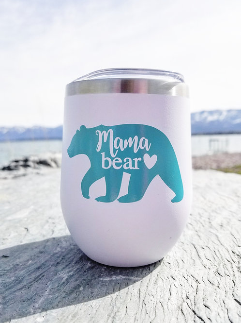 Mama Bear Stainless Wine Glass