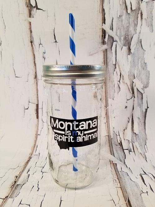 Montana is My Spirit Animal Mason Jar
