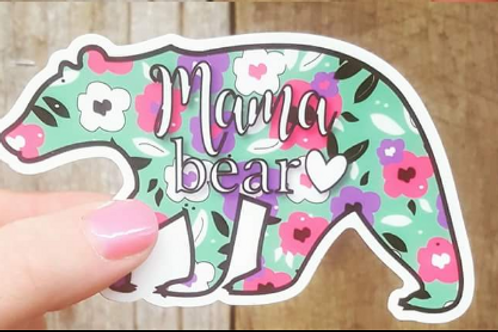 Floral Mama Bear Sticker