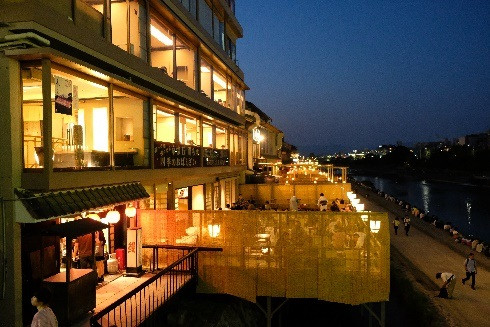 Kamo River side terrace restaurants.jpg