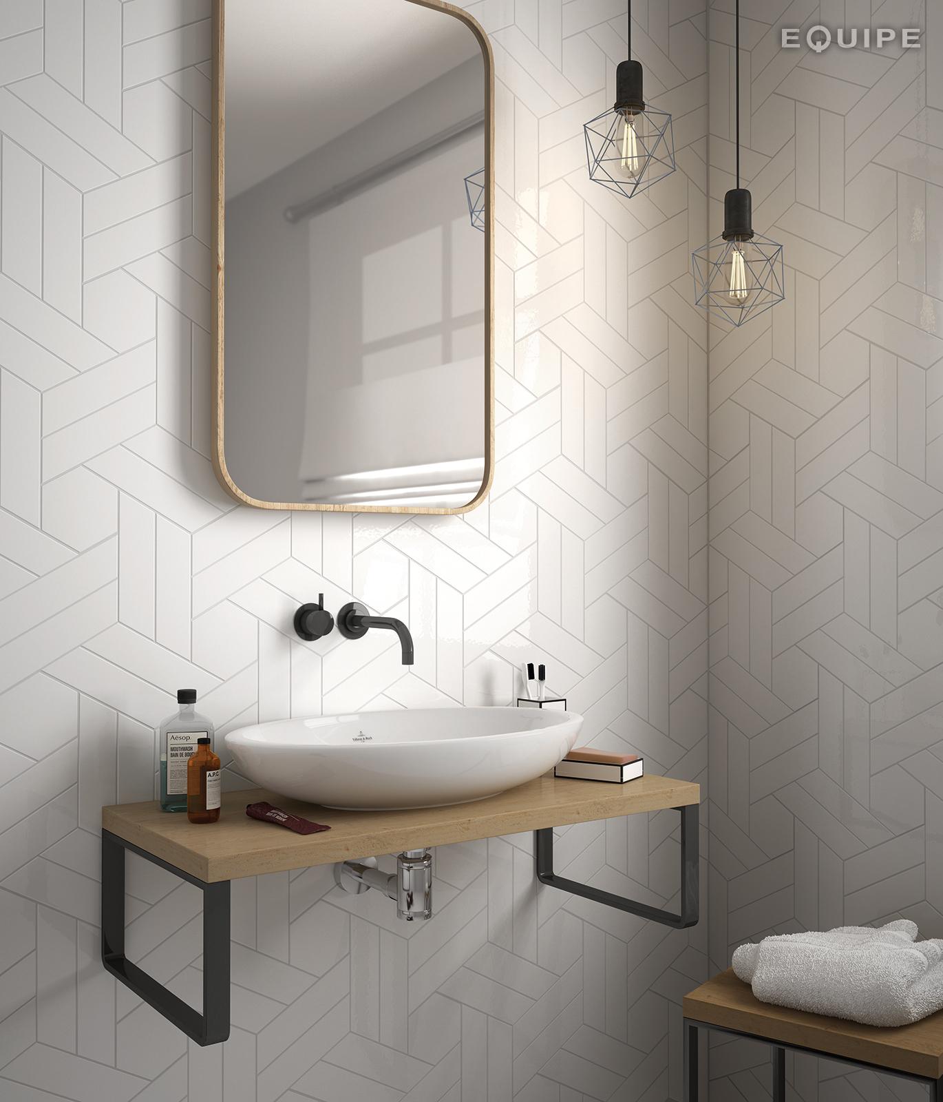 ChevronWall White Scale White Bathroom