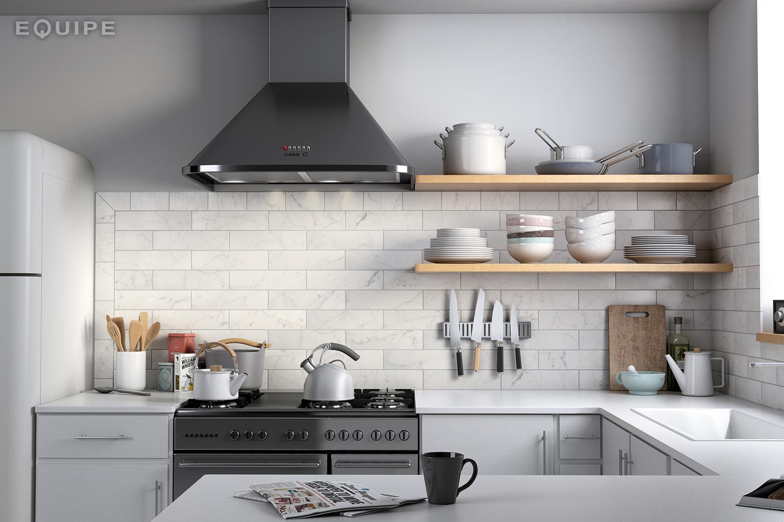 Carrara7,5x30 matt kitchen