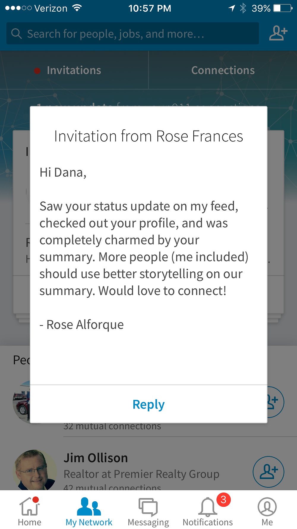 Message from a new friend on LinkedIn
