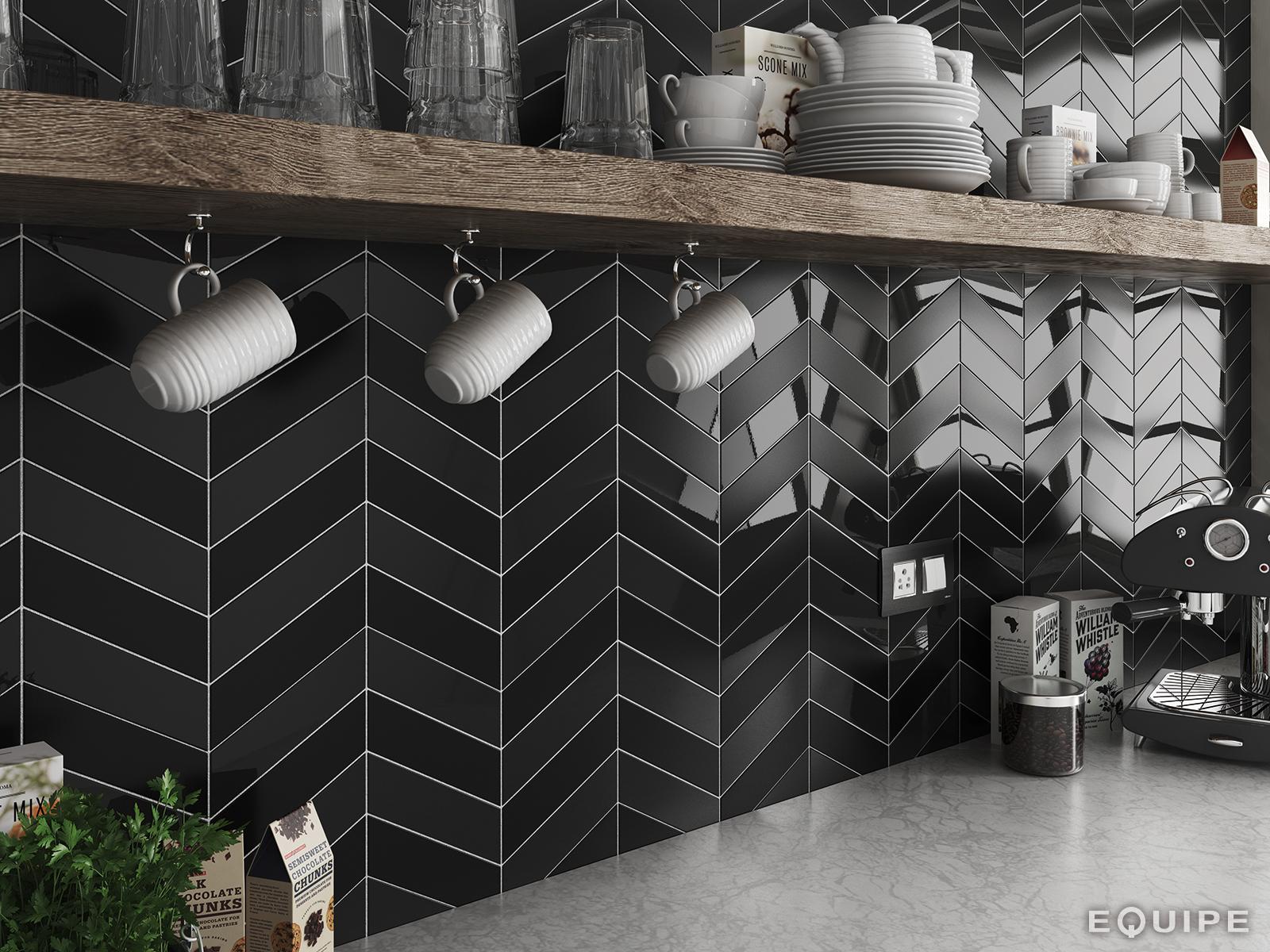 ChevronWall black_black matt kitchen