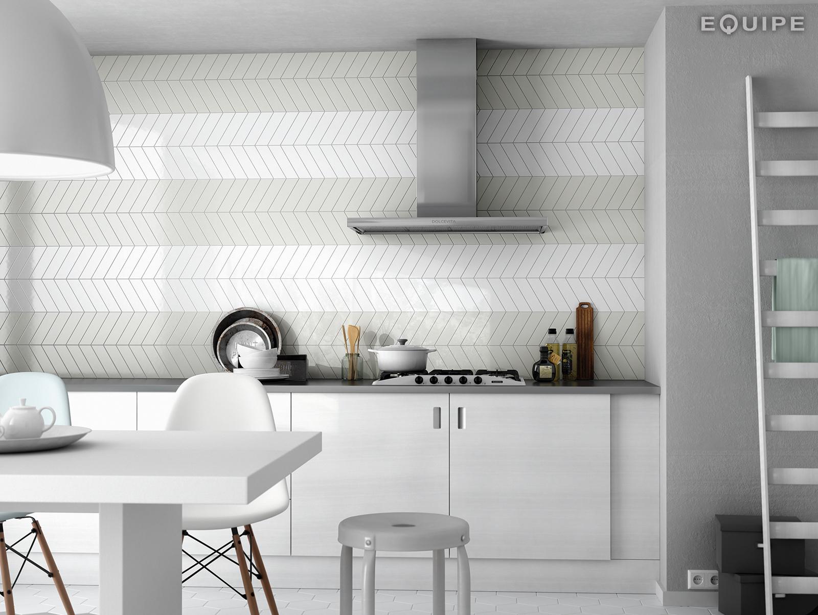 ChevronWall Mint_White kitchen