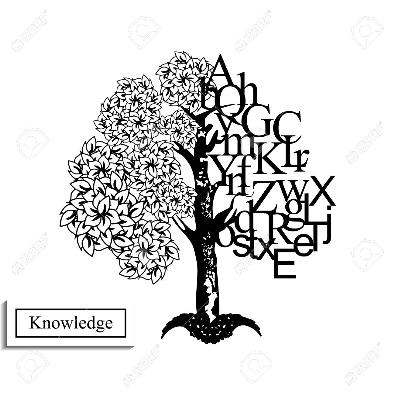63378820-Black-and-white-image-of-knowledge-tree-Stock-Vector