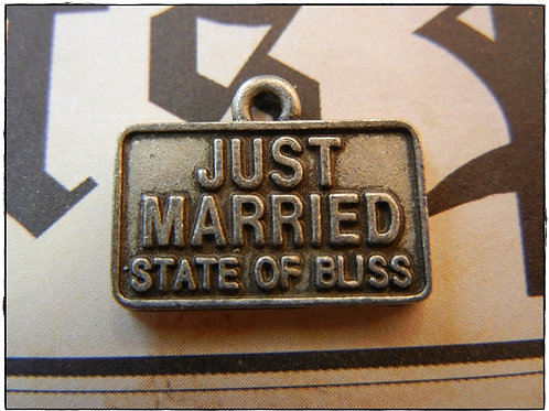 Just Married Wedding Licence Plate Charm 10pcs