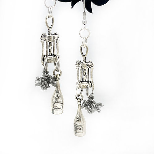 Wine Corkscrew Earrings