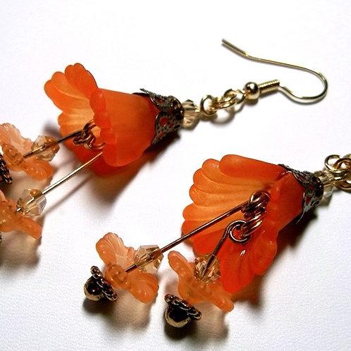 Orange Bell Flower Earrings