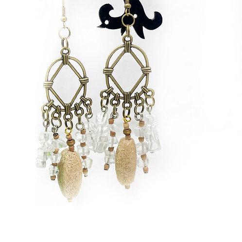 Oval Textured Bead Drop Earrings