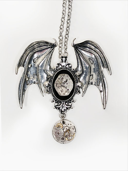 Flying Bat Duo Steampunk Necklace