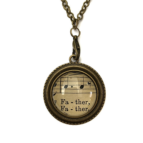 1893 Father Vintage Sheet Music Necklace