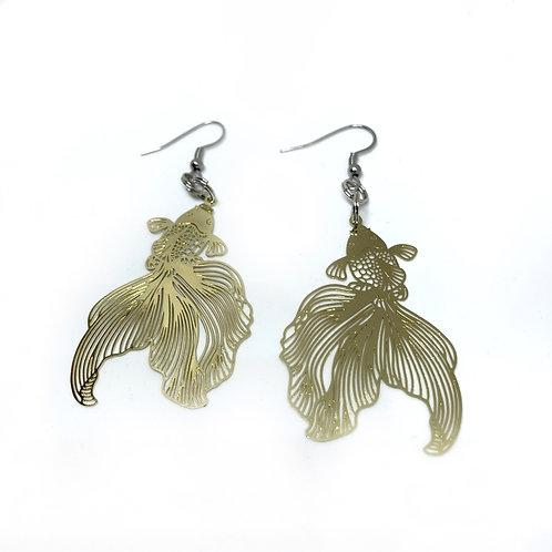 Gold Goldfish Earrings