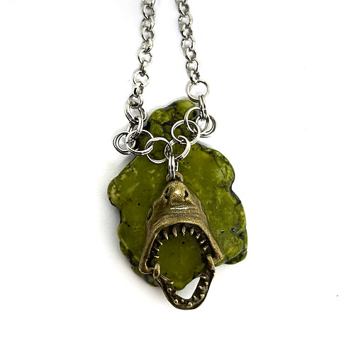Shark On Green Rock Necklace