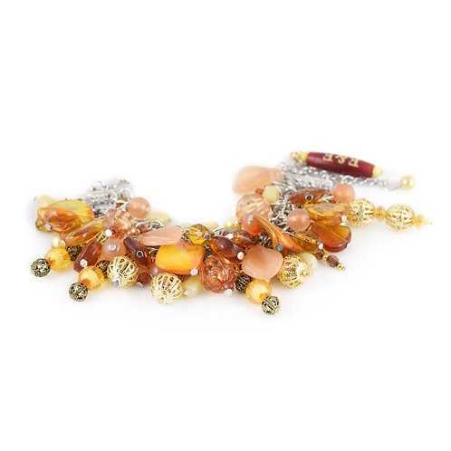 Orange Shell Bead Bracelet