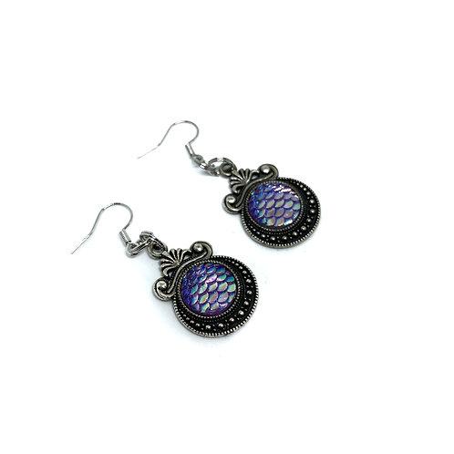 Purple Dragon Scale Earrings