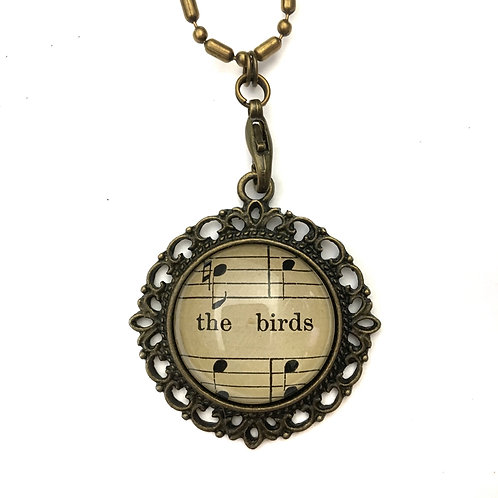 1893 The Birds Vintage Sheet Music Necklace