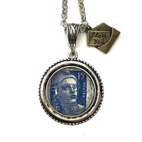 1950 Blue France Vintage Stamp Necklace