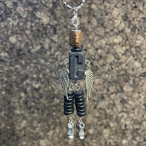 Letter C Guardian Angel Wood Necklace