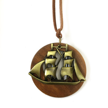 Natural wood nautical necklace