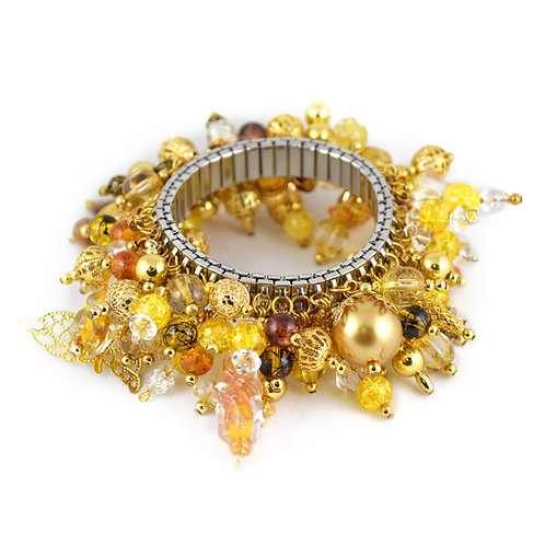 Gold Foil Bead Butterfly Cha Bracelet cha005