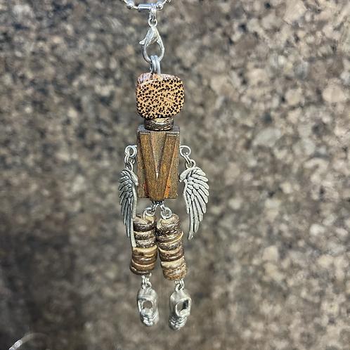 Letter V Guardian Angel Wood Necklace