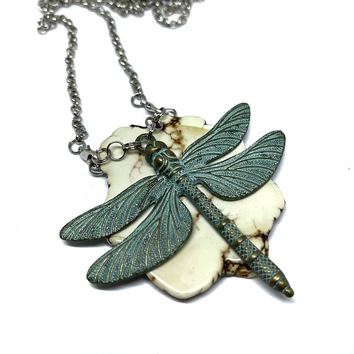 Patina Dragonfly on White Turquoise Necklace