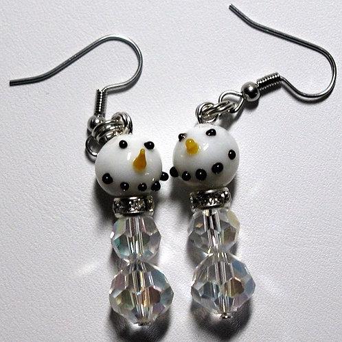 Hand Blown Lampwork Snowman Earrings