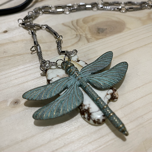 Patina Dragonfly on Dyed Turquoise Necklace