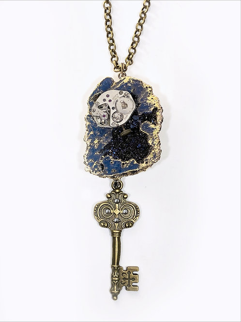 Blue Rock Slice Steampunk Key Necklace