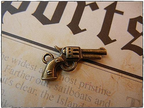 Bronze Revolver Gun Charm 10pcs