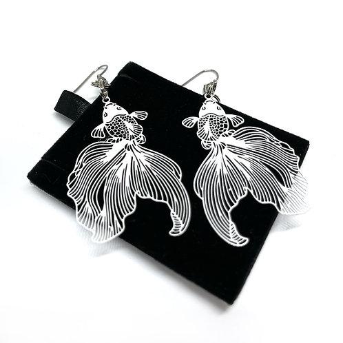 White Goldfish Earrings