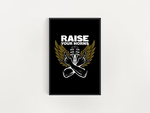 Raise Your Horns Harvest Wings  Print