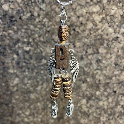 Letter P Guardian Angel Wood Necklace