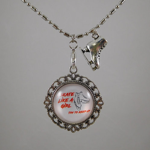 I Skate Like A Girl Figure Skating Necklace