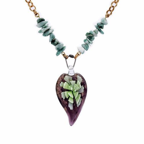 Green Murano Lampwork Necklace