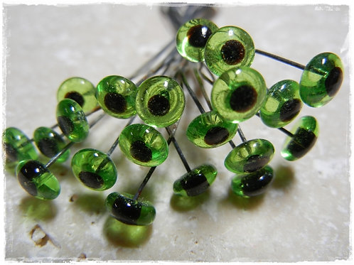 Glass Eye on a Wire 6mm Green (10 sets)